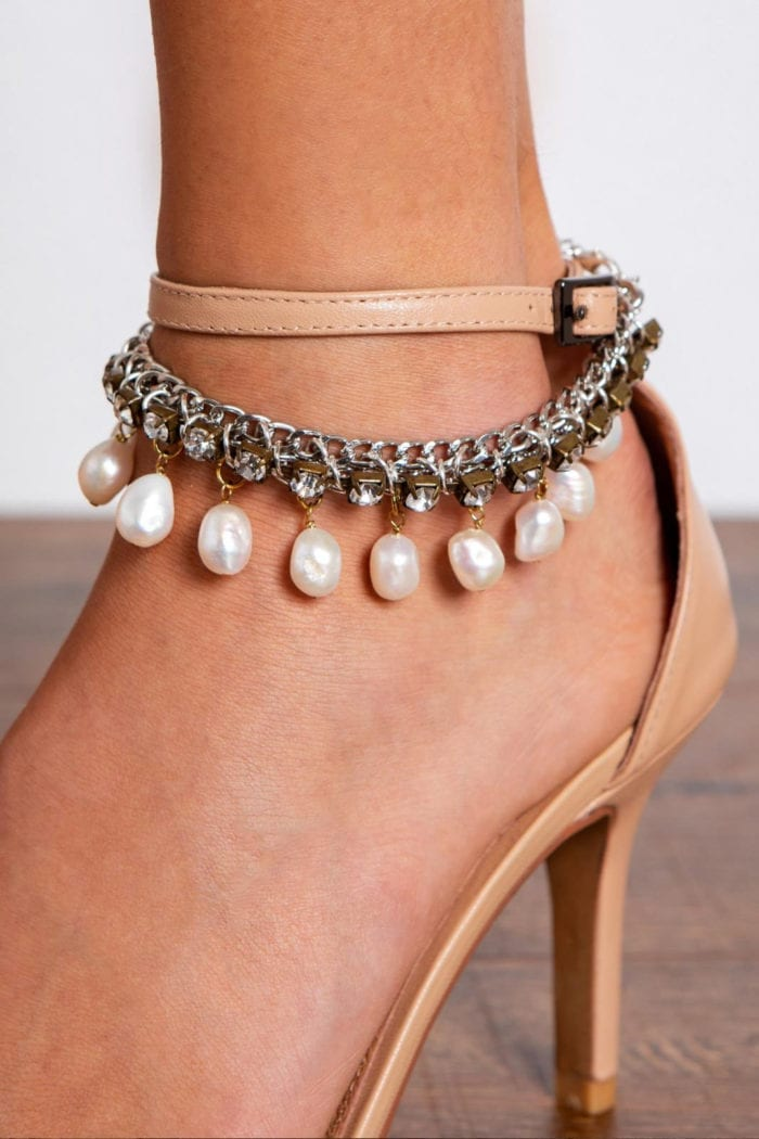 Close-up of bride wearing Grace Loves Lace Hera Anklets