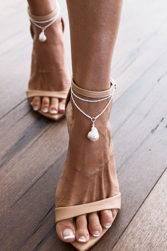 Bride wearing Grace Loves Lace Artemis Anklets