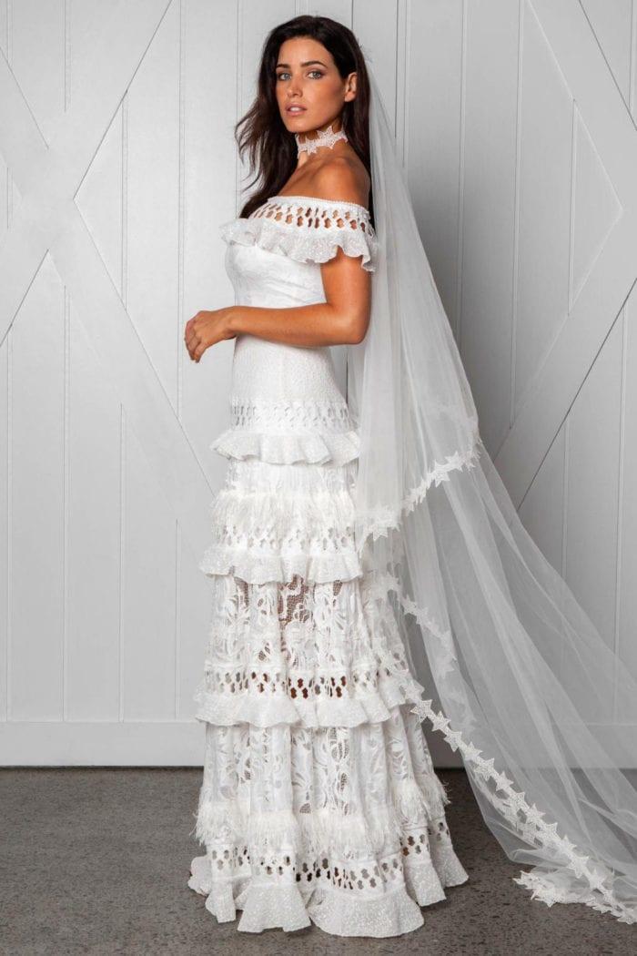 Side shot of bride wearing Grace Loves Lace Starry Night Choker
