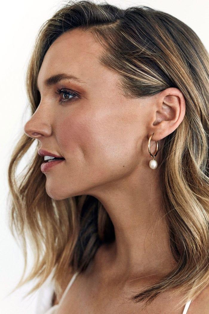Side shot of bride wearing Grace Loves Lace Sade Earrings