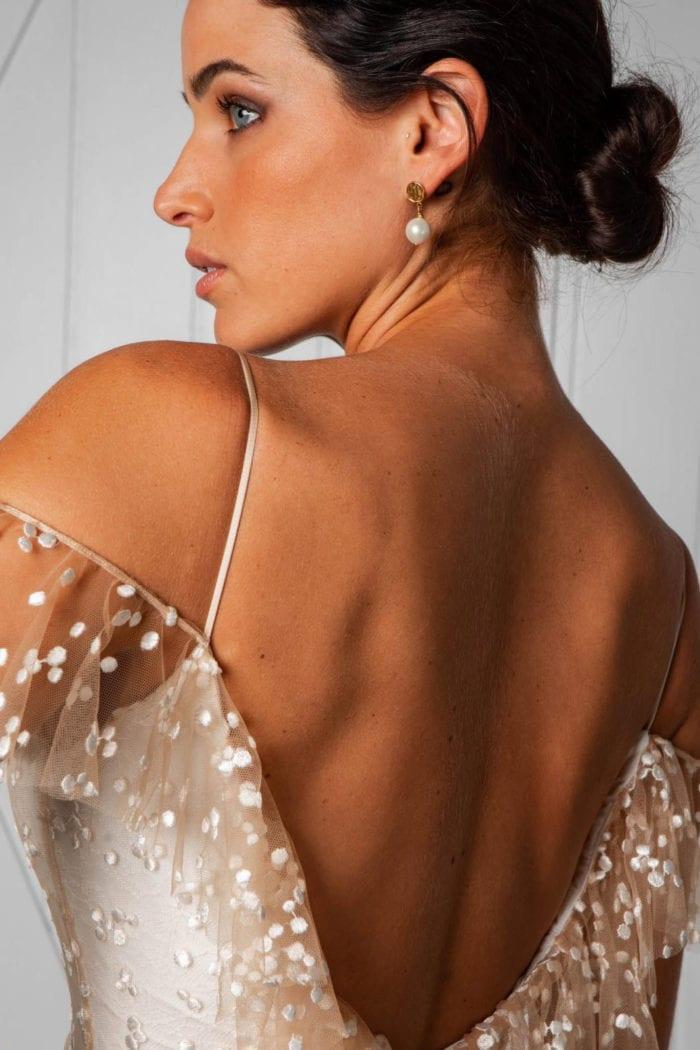 Back shot of bride wearing Grace Loves Lace Lyra Earrings
