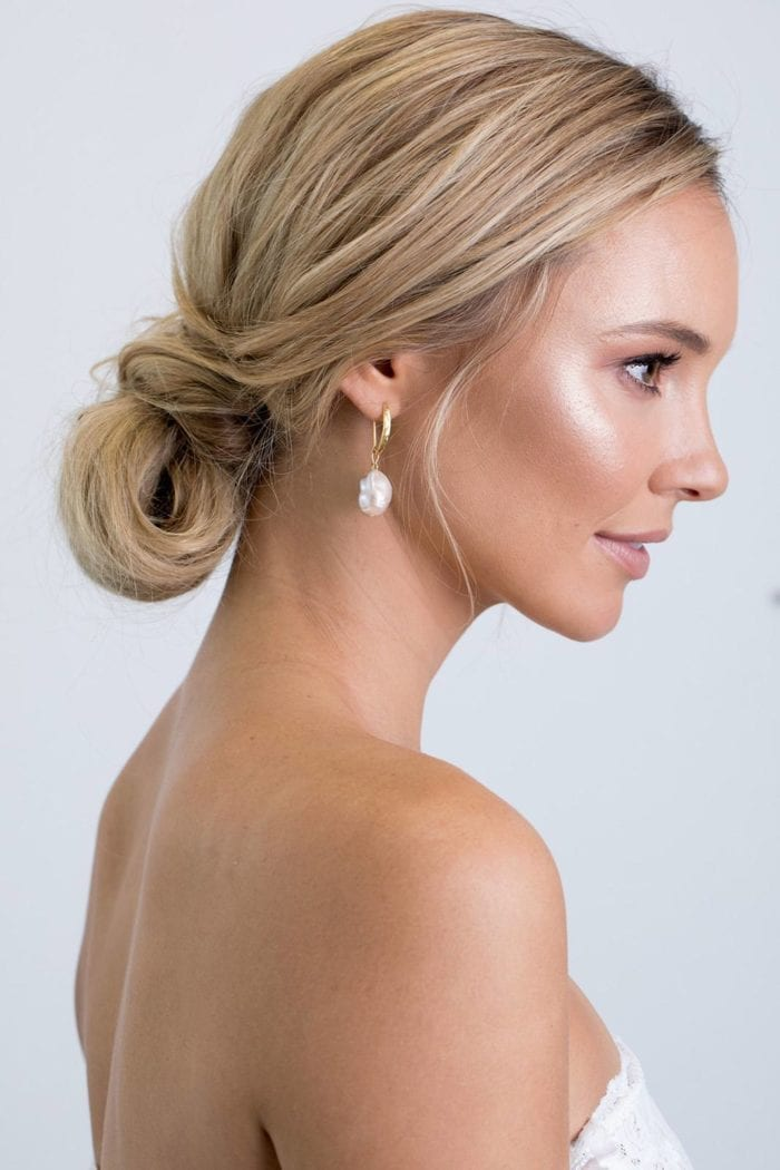 Side shot of bride wearing Grace Loves Lace Gaia Earrings