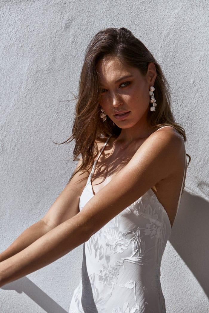 Bride wearing Grace Loves Lace Essie Earrings