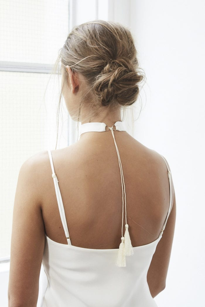 Back shot of bride wearing Grace Loves Lace Chase Silk Choker