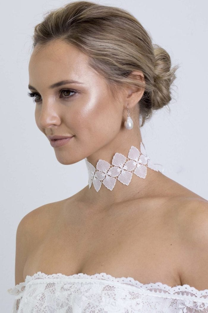 Bride wearing Grace Loves Lace Bloom Choker looking to the side