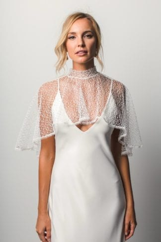 Bride wearing Grace Loves Lace Yoko Cape