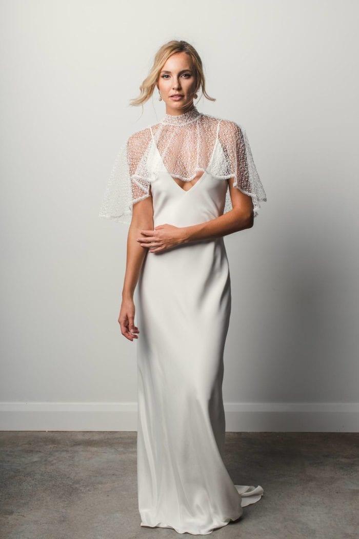 Bride wearing Grace Loves Lace Yoko Cape