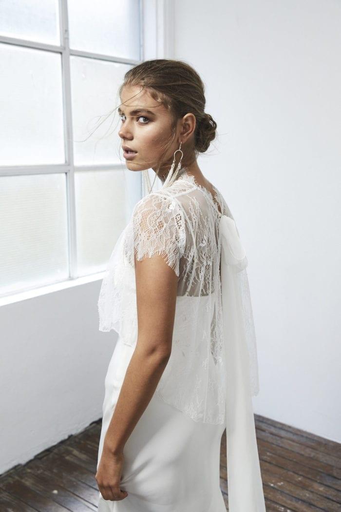 Back shot of bride wearing Grace Loves Lace Mason Top