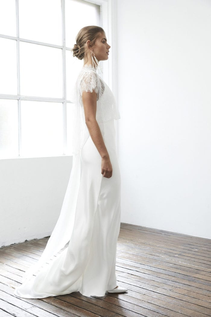 Side shot of bride wearing Grace Loves Lace Mason Top