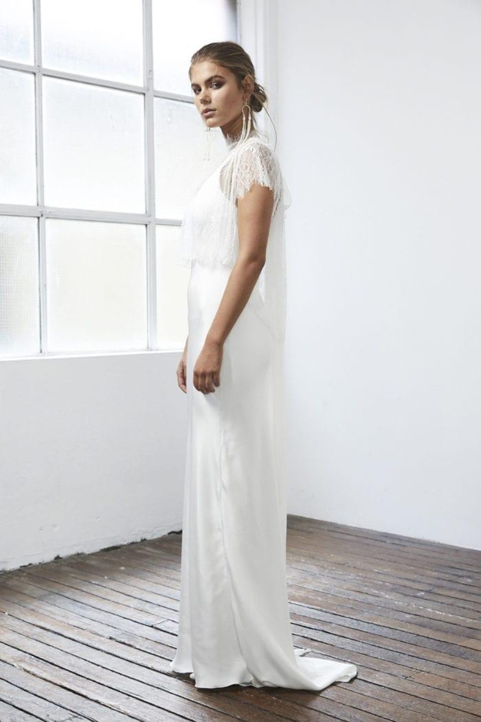 Side shot of bride wearing Grace Loves Lace Mason Top