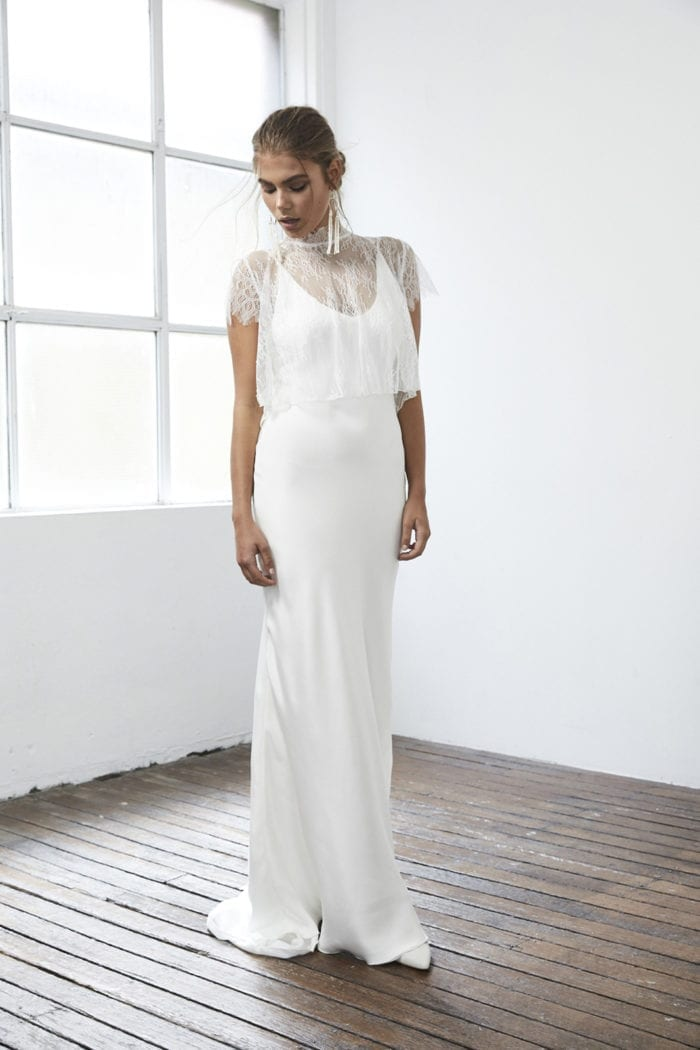 Bride wearing Grace Loves Lace Mason Top looking at the floor