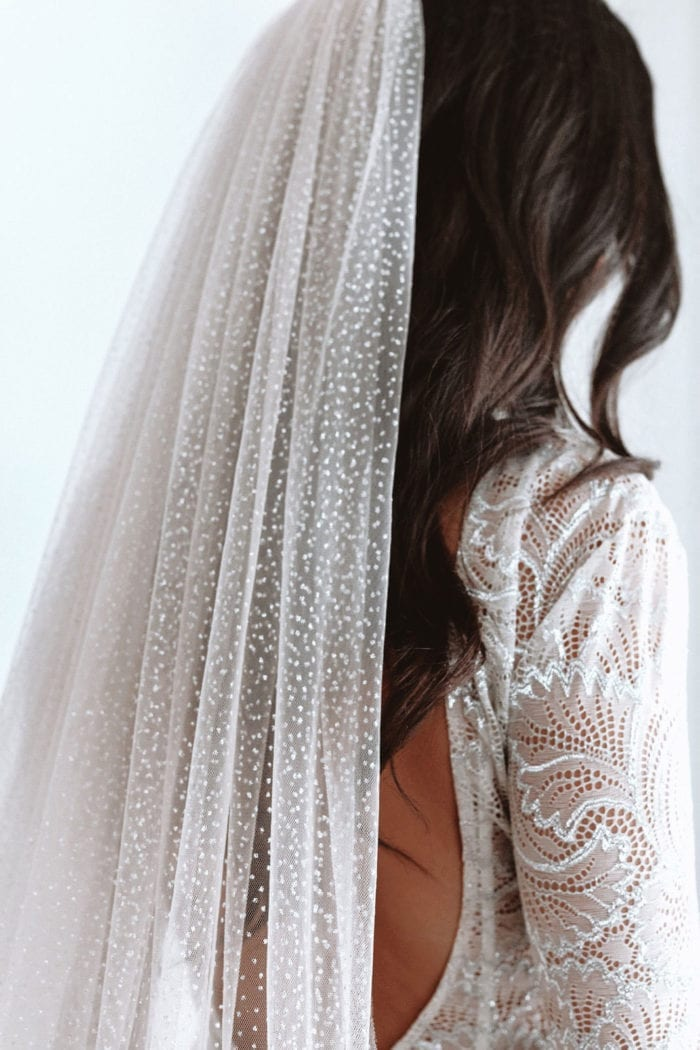 Close-up back shot of bride wearing Grace Loves Lace Shimmy Veil in Ivory Silver