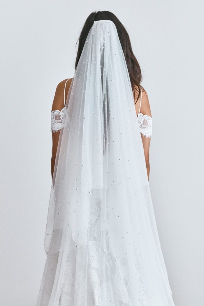 Back shot of Grace Loves Lace Pearly Blusher Veil