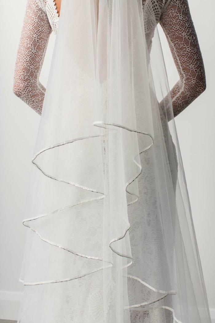 Close-up shot of Grace Loves Lace Kinga Veil trim detail