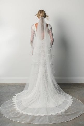 Back shot of bride wearing Grace Loves Lace Kinga Veil
