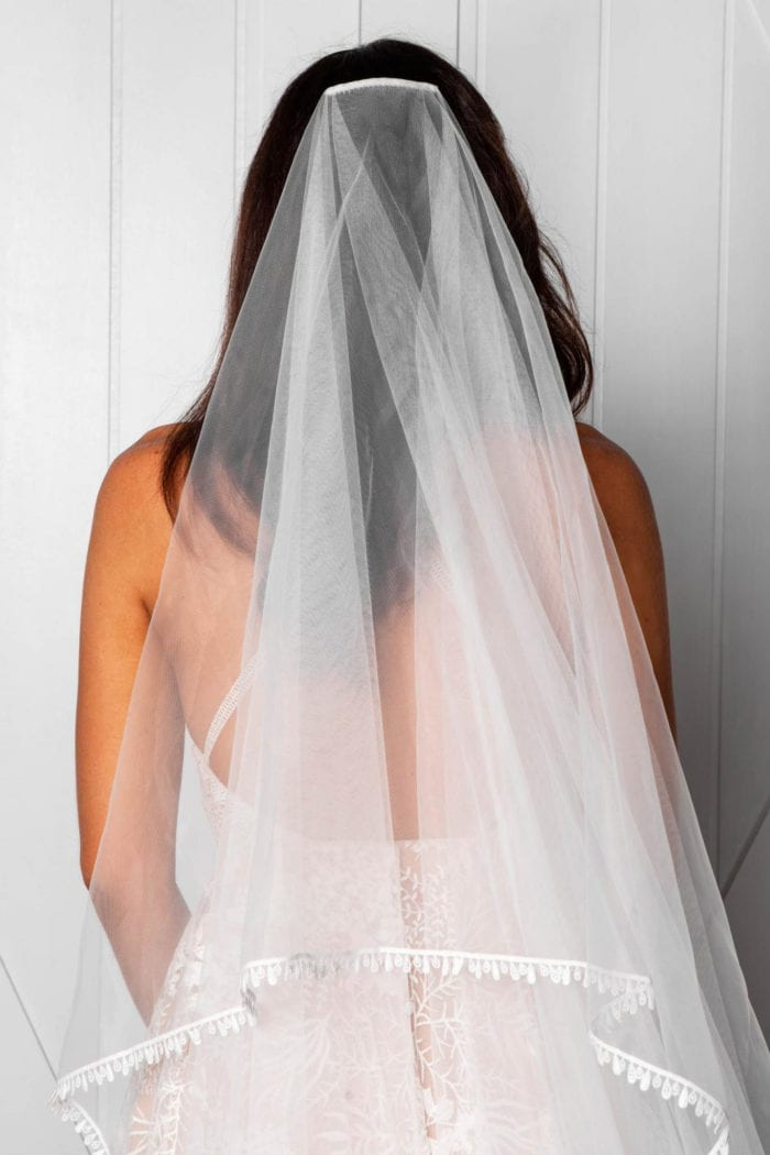 Back shot of bride wearing Grace Loves Lace Fox Veil