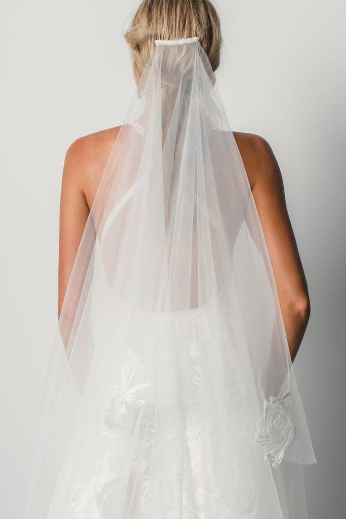 Back shot of Bride wearing Grace Loves Lace Fleur Veil