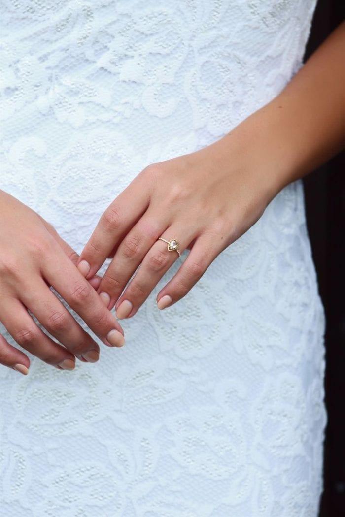 Bride wearing Grace Loves Lace Celine Ring